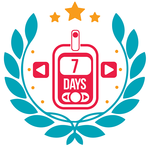 Badge for measuring blood glucose 7 times